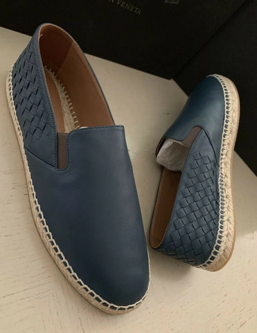 New $680 Bottega Veneta Men Leather Espadrille Shoes Blue/Navy 13 US ( 46 Eu )
