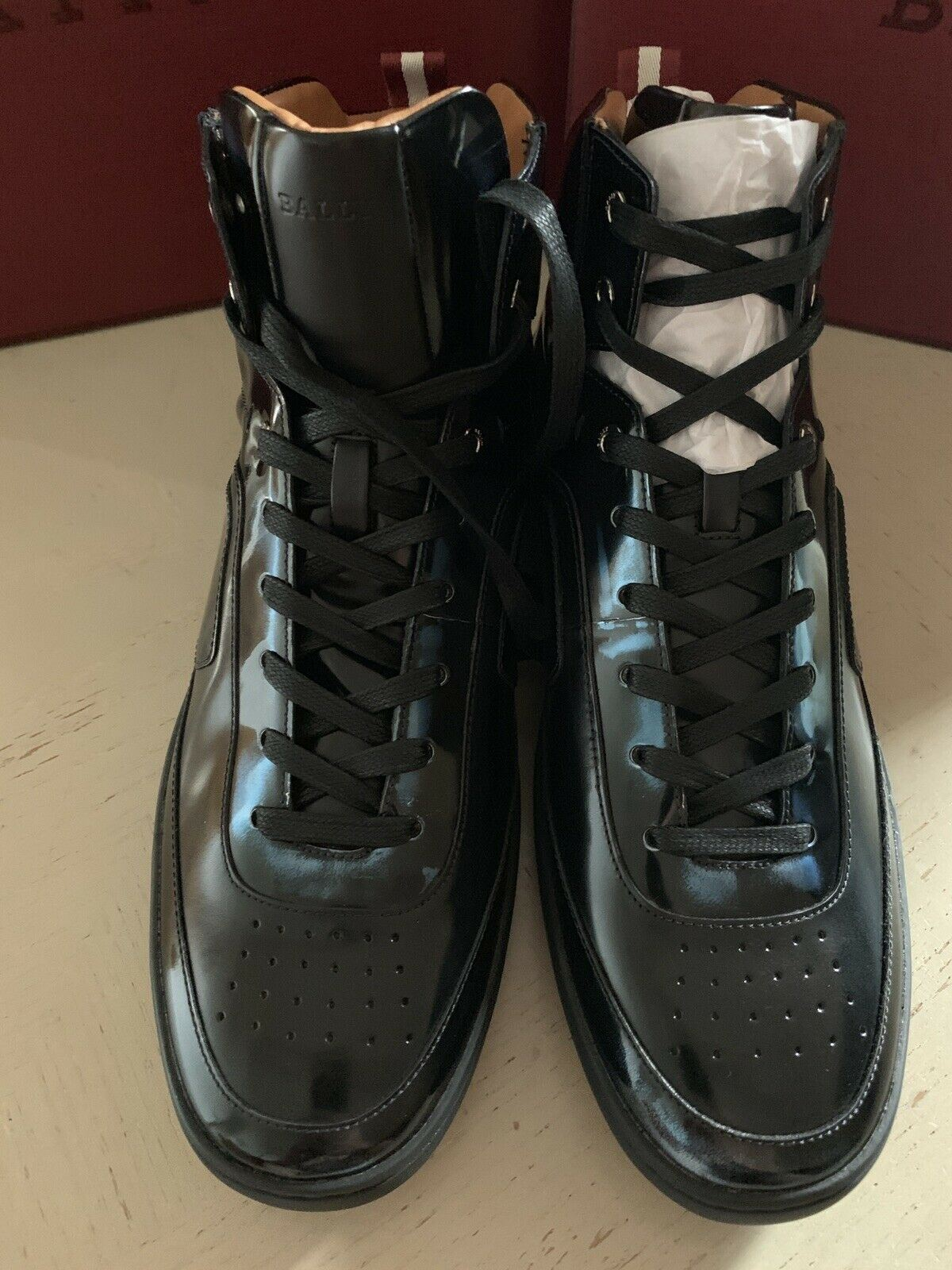 New $700 Bally Men Etra High-Top Sneakers Shoes Ink 10 US Switzerland
