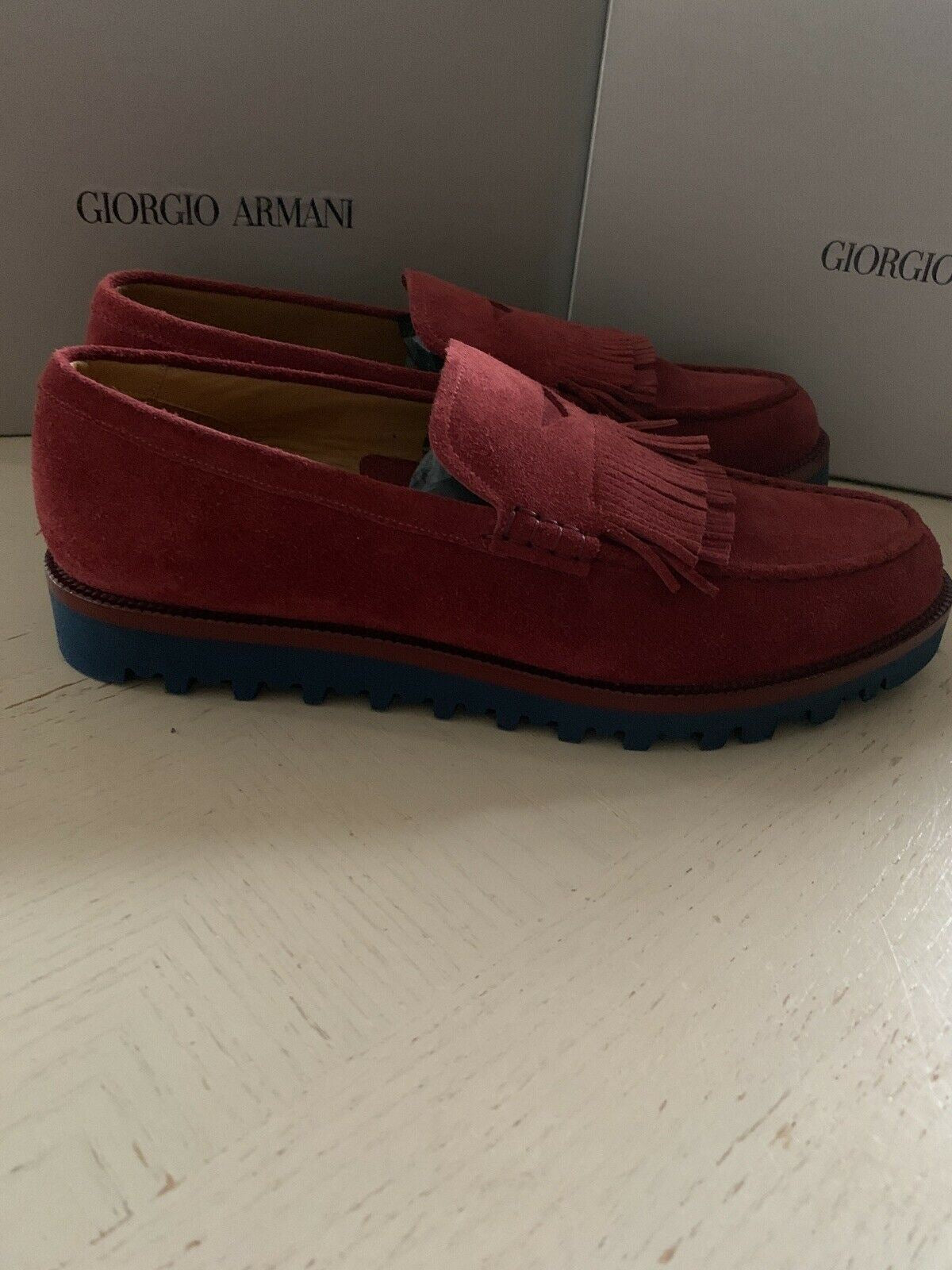 New $895 Giorgio Armani Mens Suede Loafers Shoes Burgundy 10.5 US X2A313 Ita