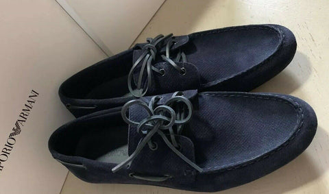 New $495 Emporio Armani Mens Suede Drivers Shoes DK Blue 12.5 US/11.5 UK