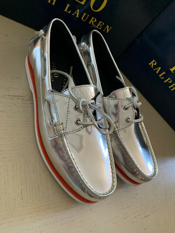 New Polo Ralph Lauren Mens Leather Shoes Silver 11 US