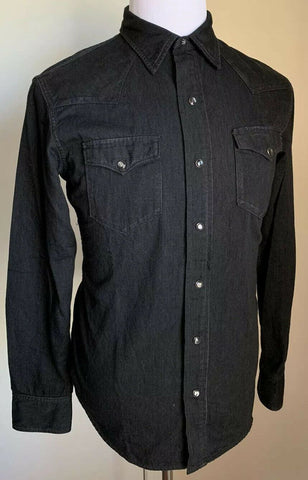 PoNWT $795 Ralph Lauren Purple Label Mens Western Shirt Black/Gray Size M Italy