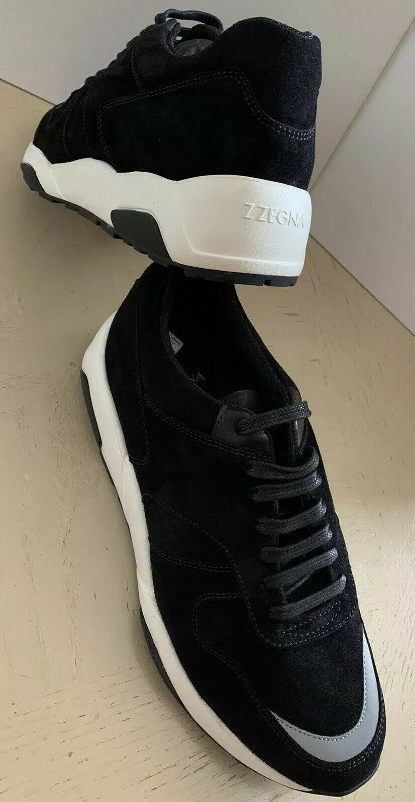 NIB $595 Z Zegna Men's Leather/Suede Sneakers Black 9 US Italy