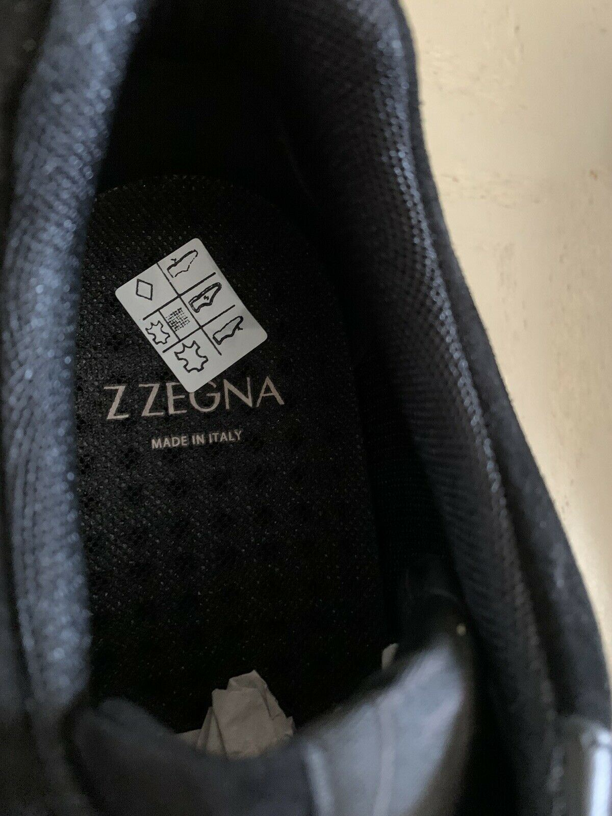 NIB $595 Z Zegna Men's Leather/Suede Sneakers Black 9.5 US Italy