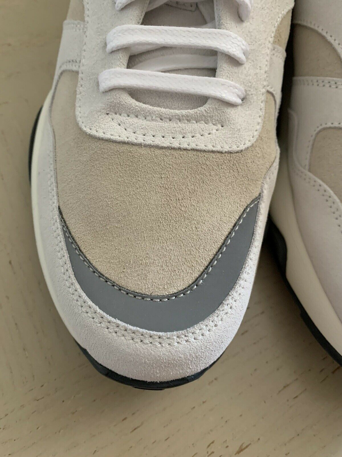 NIB $595 Z Zegna Men's Leather/Suede Sneakers Beije/White 10.5 US Italy