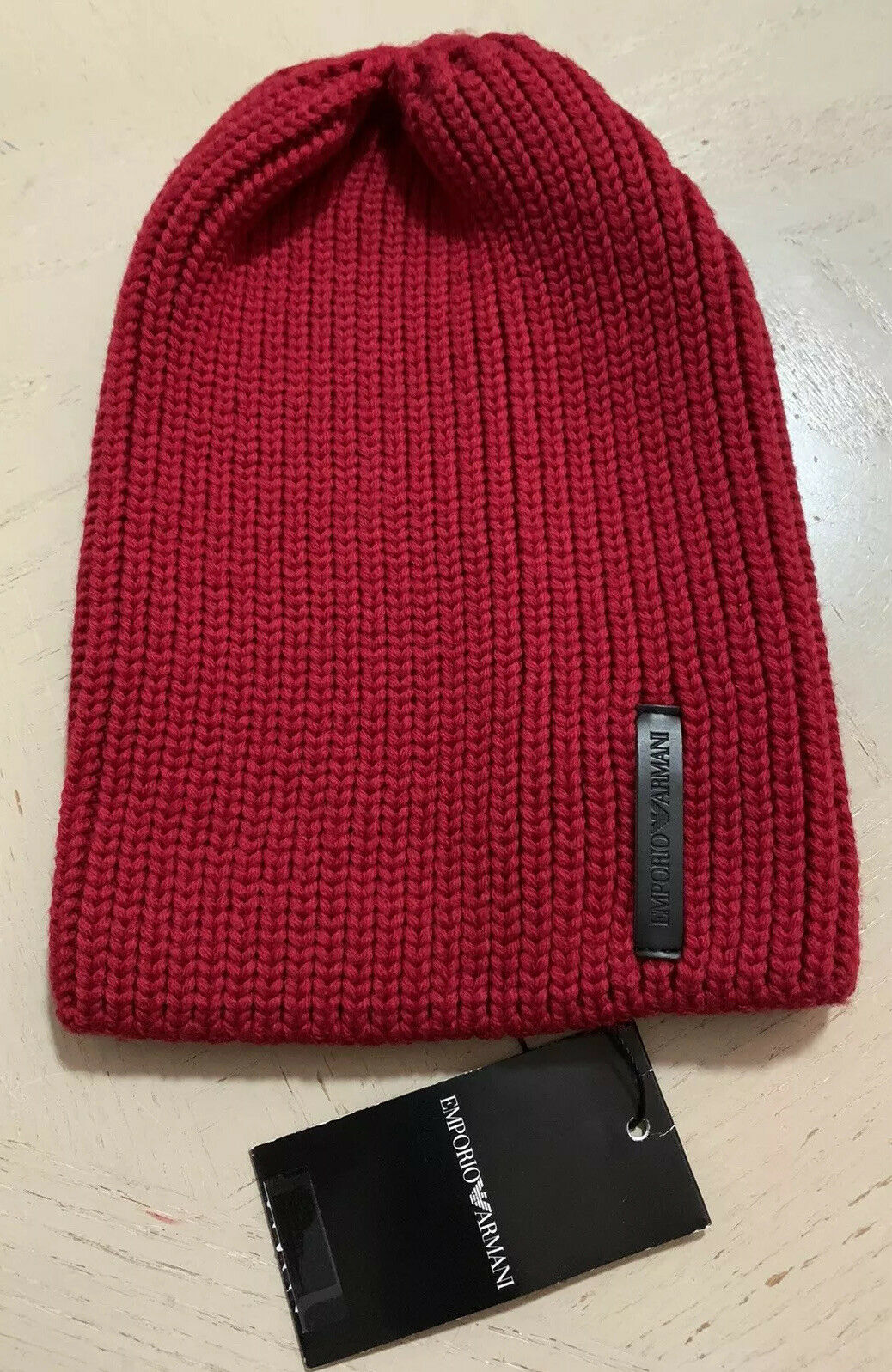 NWT $195 Emporio Armani Mens Beanie Hat Red Size M Italy
