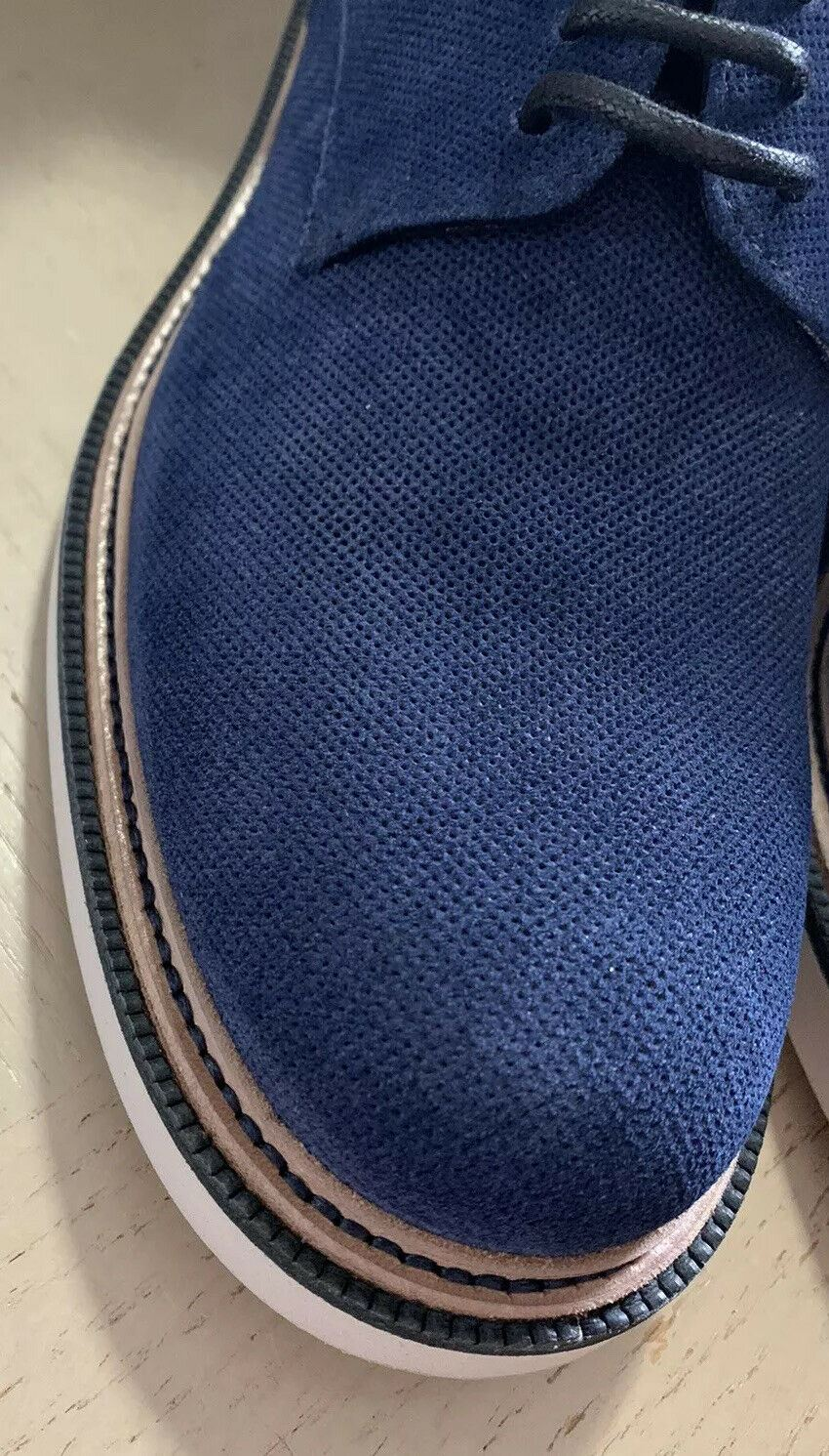 New $1095 Giorgio Armani Men Suede Shoes Blue 10.5 US/9.5 Eu X2C575