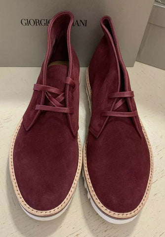 New $695 Giorgio Armani Mens Suede Boot Shoes Burgundy 10.5 US/9.5 UK X2M268