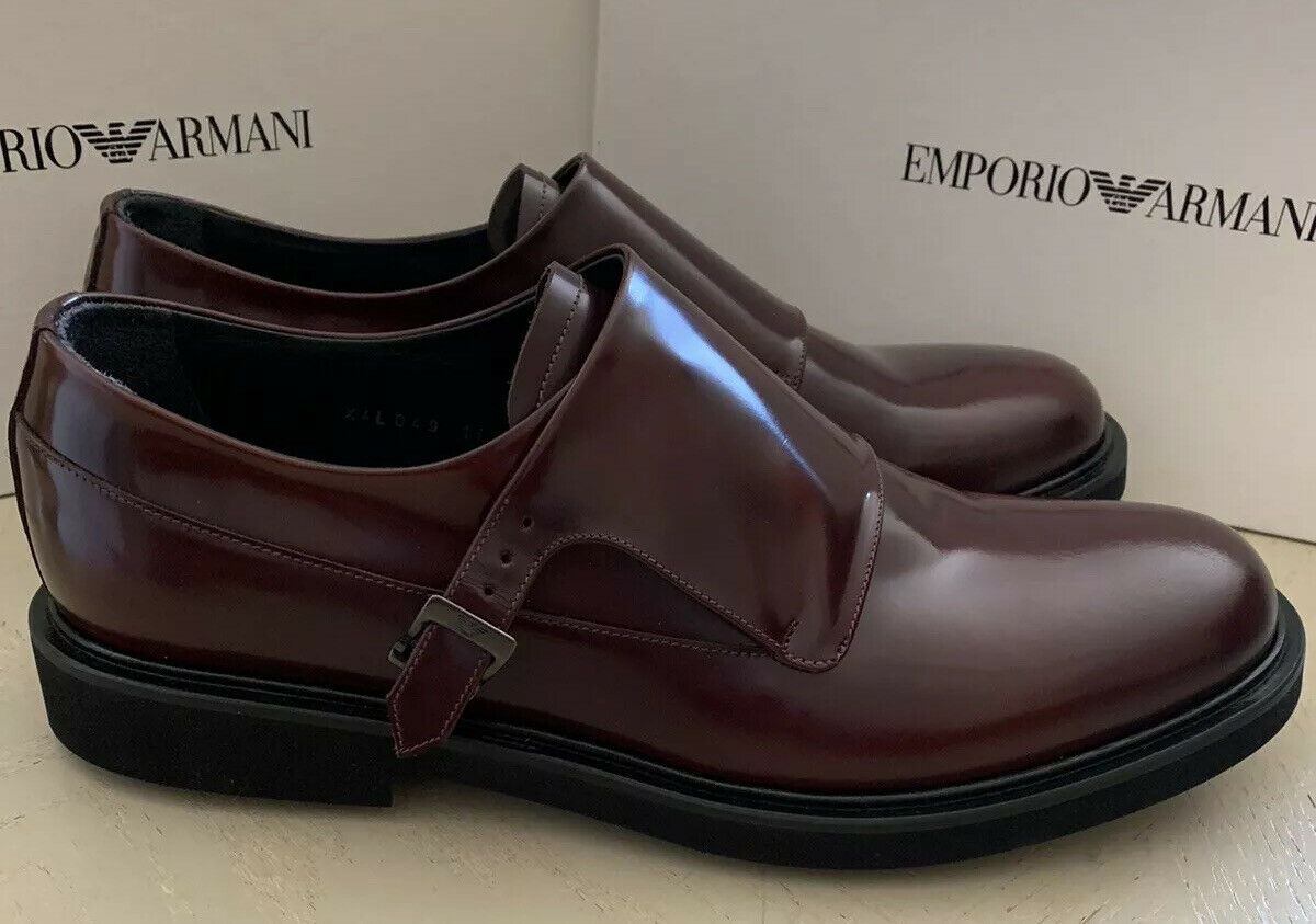New $725 Emporio Armani Mens Extralight Shoes Burgundy 11 US/10 UK X4L049 Italy