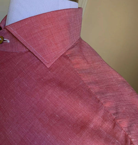 NWT $800 Kiton Mens Dress Shirt Pink 39/15.5 Hand made Italy