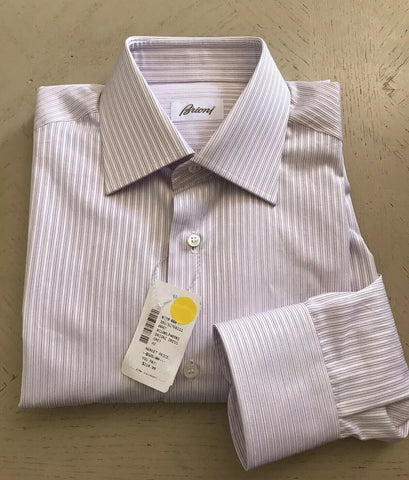 NWT $525 Brioni Mens Dress Shirt Gray Size 38/15 Italy