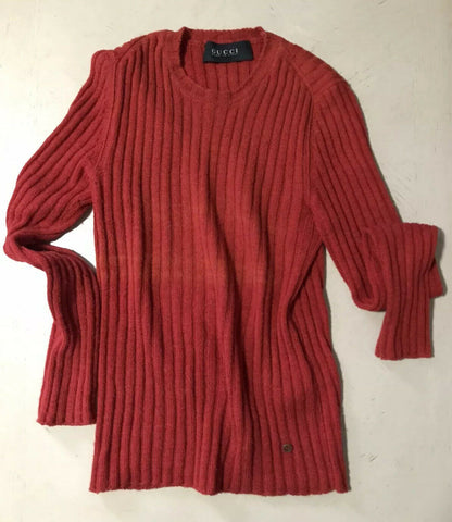 $845 Gucci Mens Crewneck Slim Fit Sweater Red Size L Italy