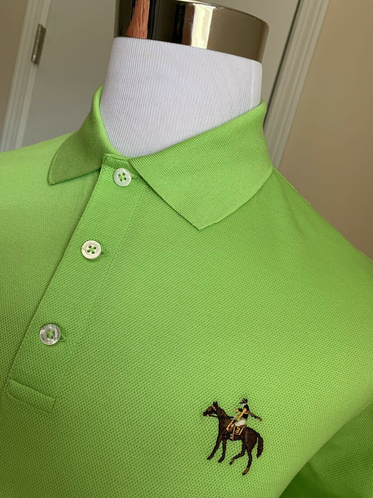 NWT $395 Ralph Lauren Purple Label Men Polo Shirt Green L Italy