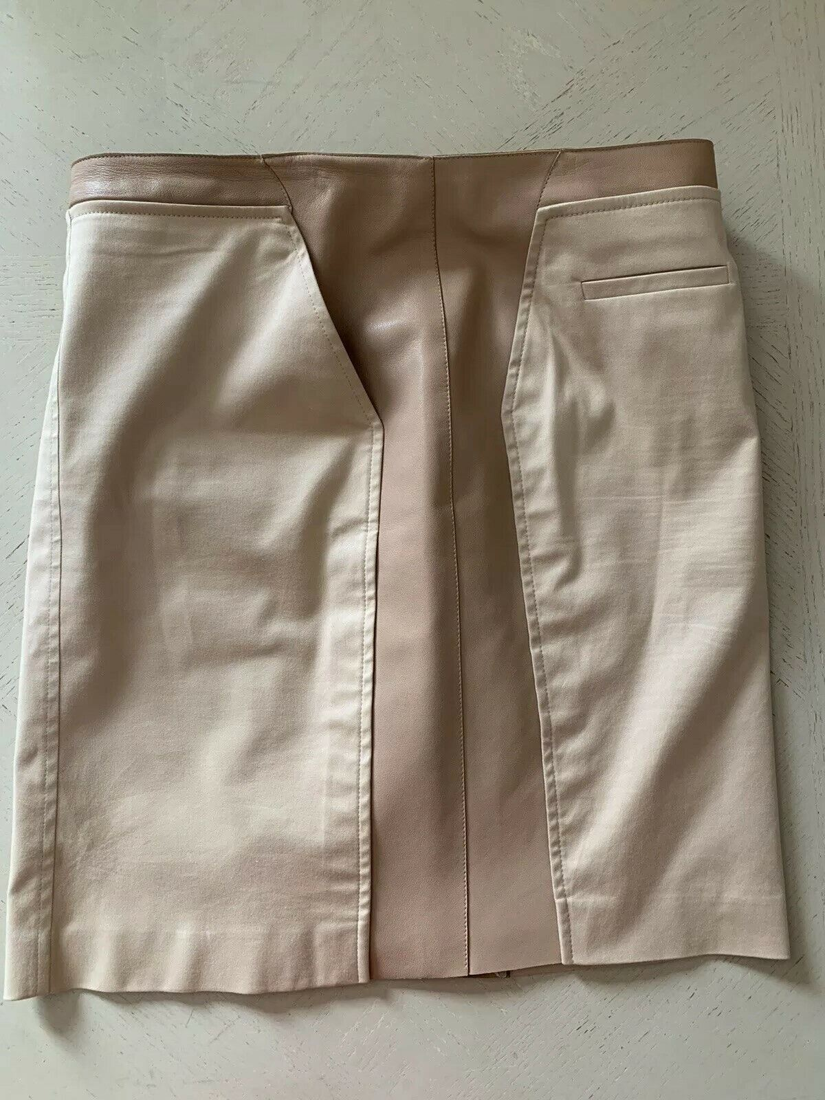 $2785 AKRIS Leather Cotton Skirt LT Brown 12 US ( 44 Eu )