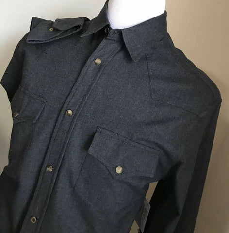 NWT $730 Brunello Cucinelli Mens Western Shirt Slim Fit Dark Gray XXL Italy