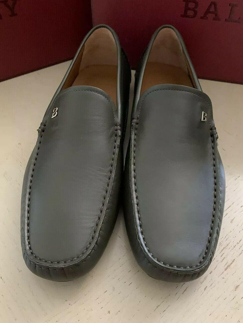 New $550 Bally Men Wander Leather Driver Loafers Shoes Dark Green US 10 Italy