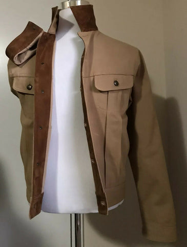 New $1295 Ralph Lauren Purple Label Men Suede/Cotton Jeans Jacket Beige XL Italy