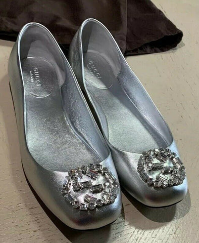 NIB $1045 Gucci Women Flats Shoes Silver 8 US ( 38 Eu ) Italy