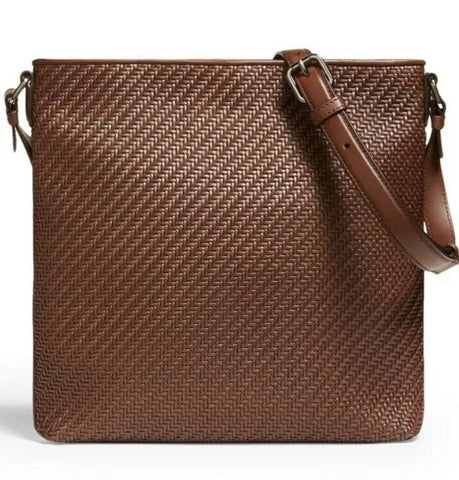 New $1595 Ermenegildo Zegna Pelletessuta Leather Messenger Bag DK Brown Italy