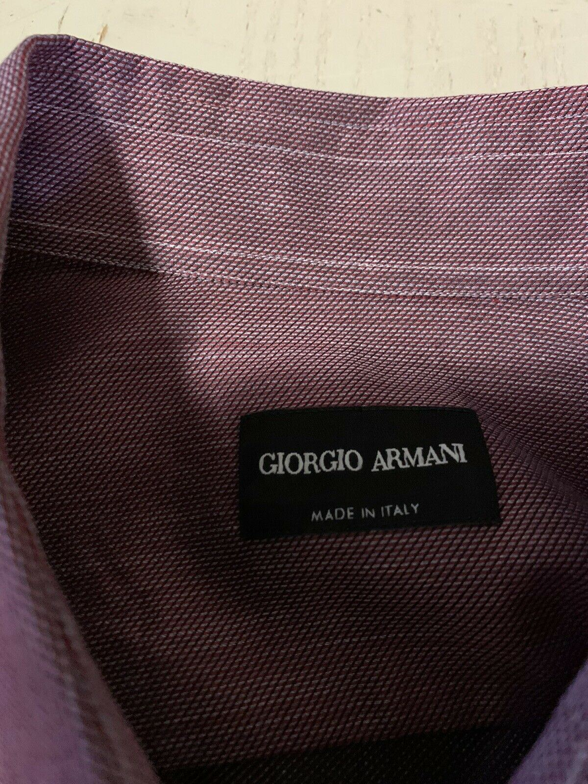 NWT $495 Giorgio Armani Mens Dress Shirt Burgundy 43/17  Italy