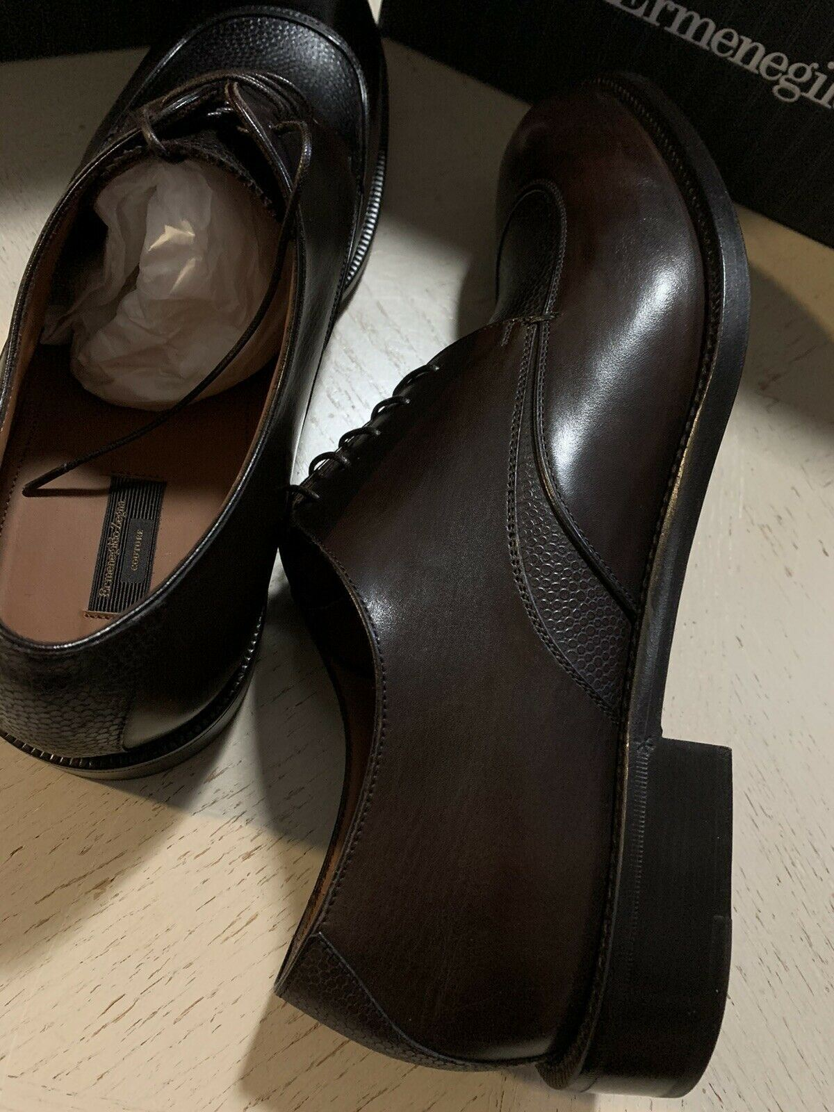 New $995 Ermenegildo Zegna Couture Leather Shoes Derby Dark Brown 9.5 US