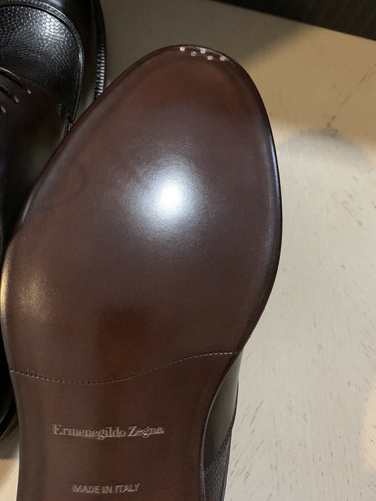 New $995 Ermenegildo Zegna Couture Leather Shoes Derby Dark Brown 10.5 US