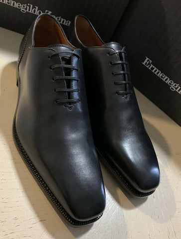 New $1395 Ermenegildo Zegna Couture Oxford Leather Shoes Black 9 US Italy