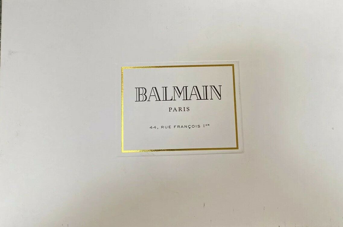 NWT $595 Balmain Leather Logo Crest Embossed Truker Hat Black One Size France