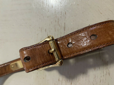 $650 Ralph Lauren Mens Genuine Leather Belt Brown 34/85 Italy