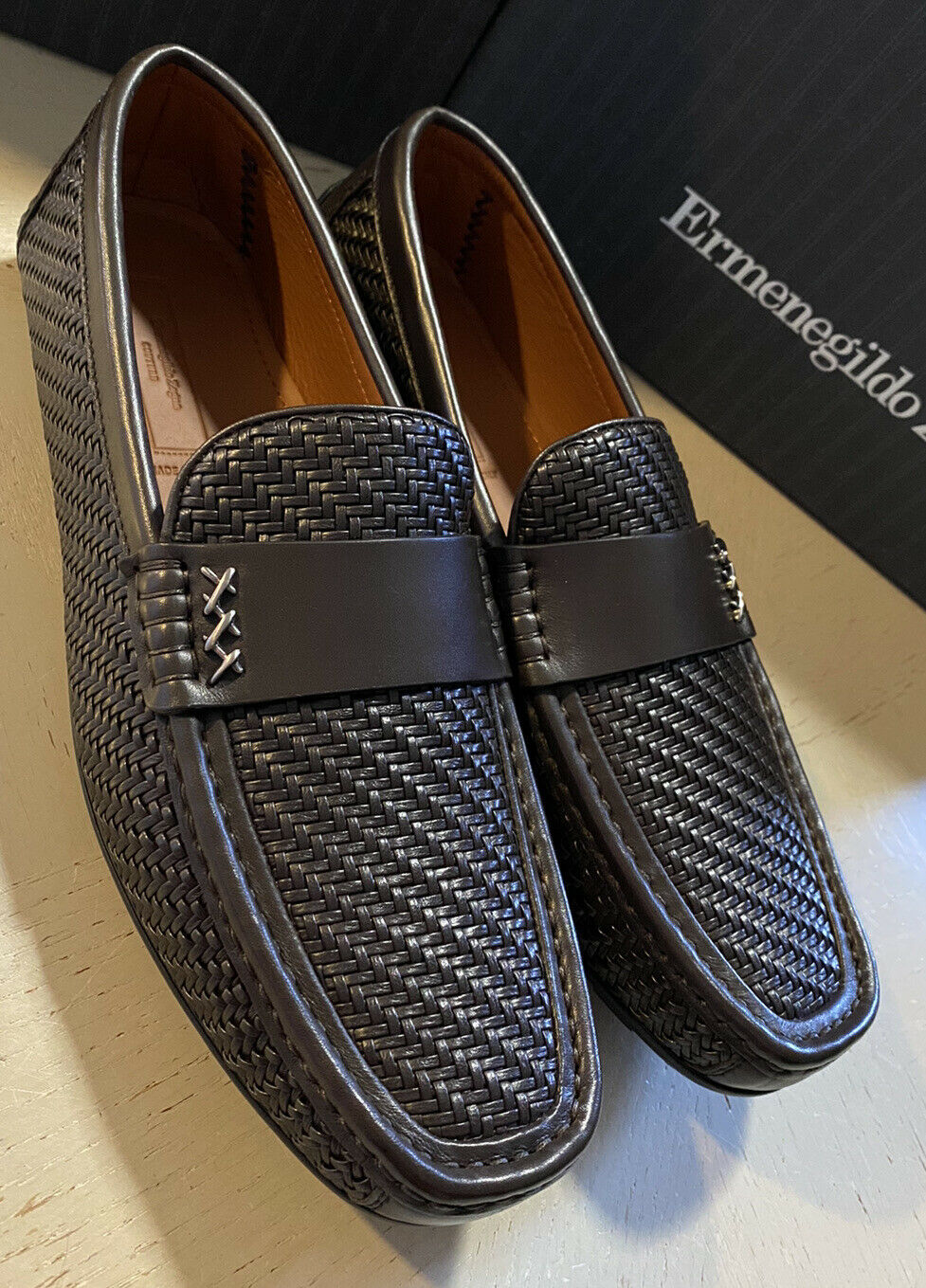 New $895 Ermenegildo Zegna Couture Leather Driver Shoes DK Brown 9.5 US Italy