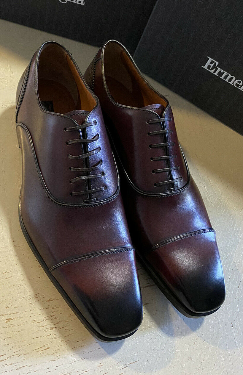 New $895 Ermenegildo Zegna Couture Oxford Leather Shoes Burgundy 10 US Italy