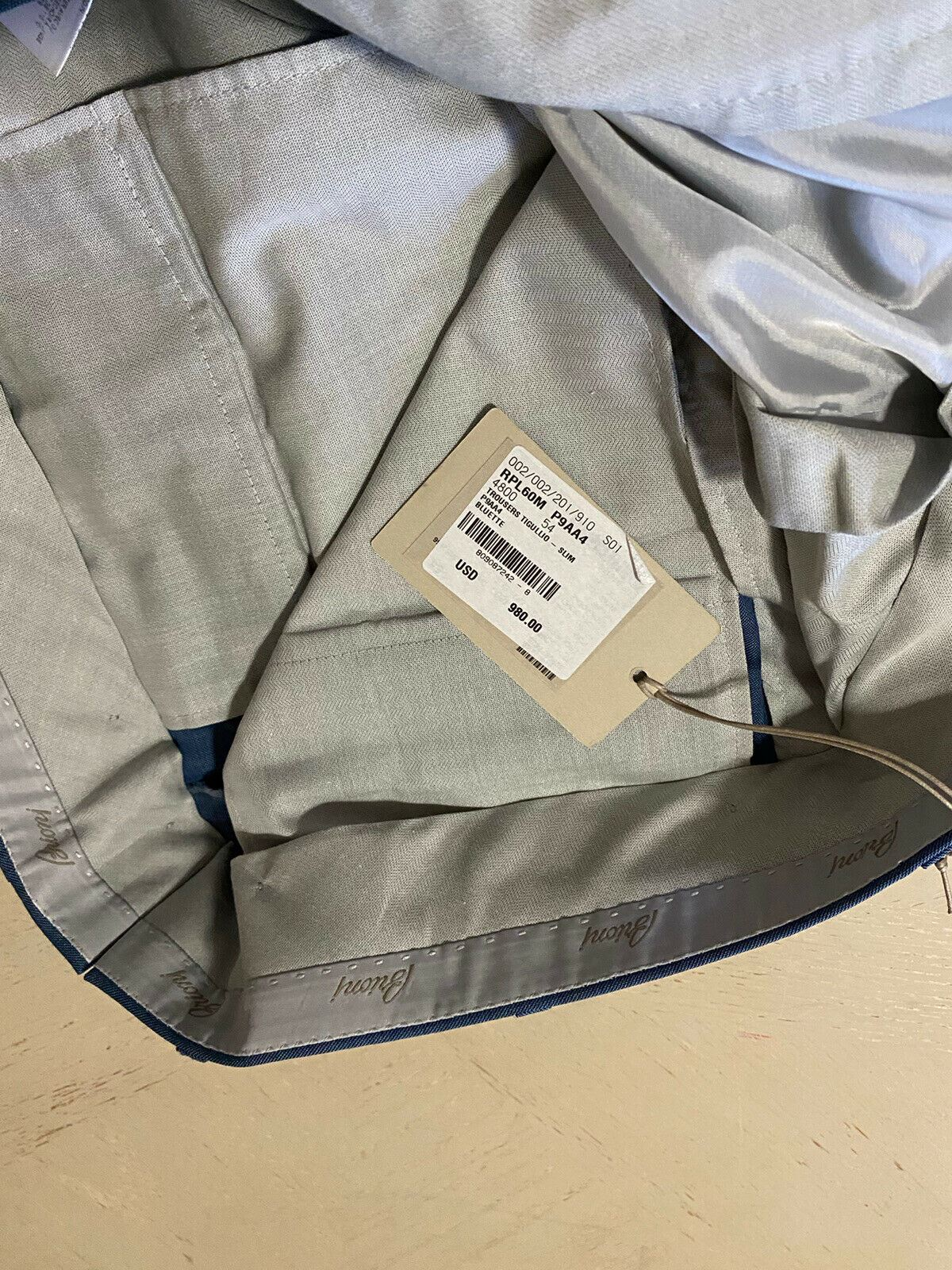 NWT $980 Brioni Mens Dress Pants Blue 38 US ( 54 Eu ) Italy