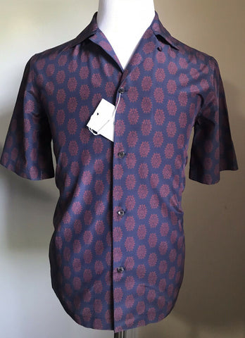 New $758 Salvatore Ferragamo Men's Short Sleeve Shirt Navy Size S Italy