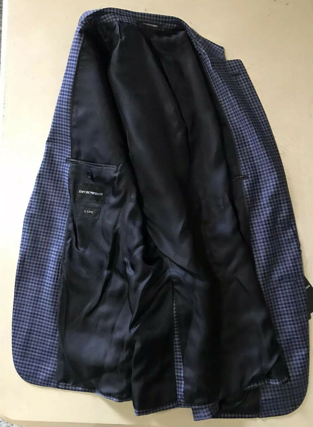 NWT $1495 Emporio Armani Super 130S Wool Coat Jacket Blazer Blue 40R US/50R Eu