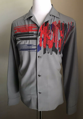New $990 Salvatore Ferragamo Men's Long Sleeve Shirt Gray Size L Italy