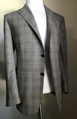 New $12000 Kiton Men 14 Micron Wool Suit Gray 44R US ( 56R Ita ) Italy
