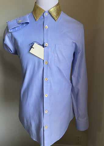 New $675 Gucci Men's Dress Shirt Blue 42/16.5 Italy