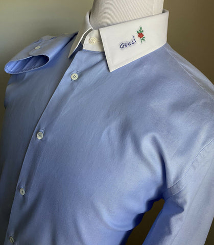 New $780 Gucci Men's Slim Fit Dress Shirt Blue 43/17 Italy
