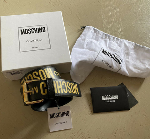 New $650 Moschino Couture 100% Leather Belt Black 32/80 Italy