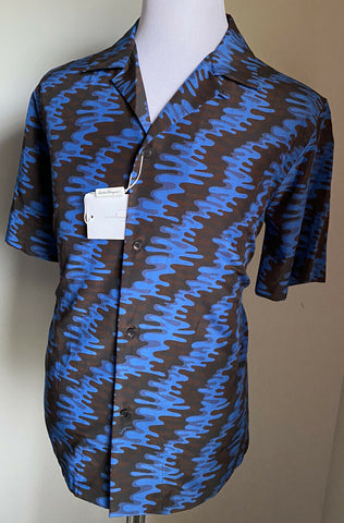 New $830 Salvatore Ferragamo Men's Short Sleeve Shirt Blue Size XL Italy