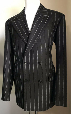 New $4000 Versace Mens Versace Striped Suit Black 44R US ( 54R Eu ) Italy