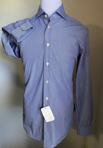 NWT $725 Kiton Mens Dress Shirt Blue 42/16.5 Hand made Italy