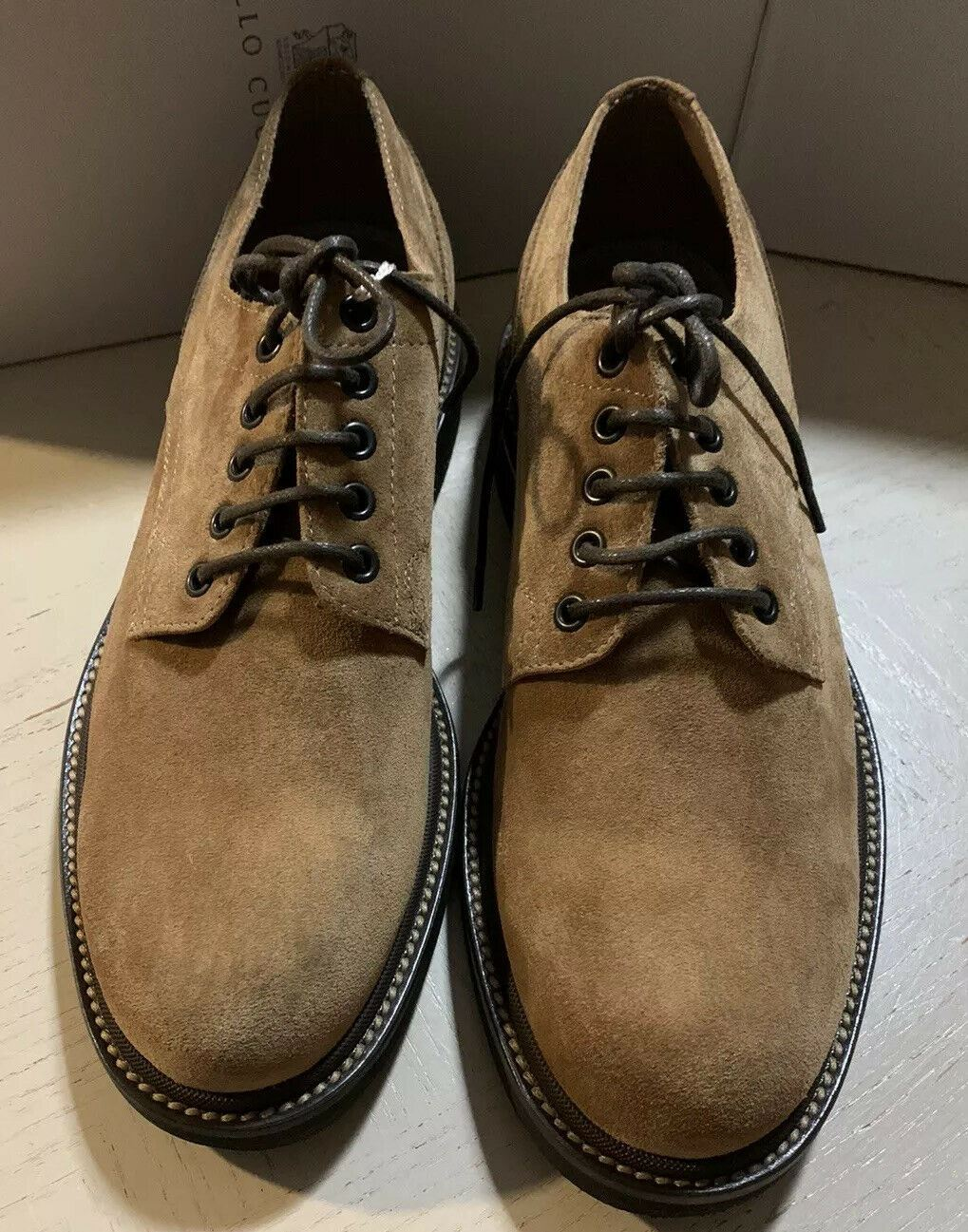 New $795 Brunello Cucinelli Men Suede Shoes Brown 10 US ( 43 Eu )