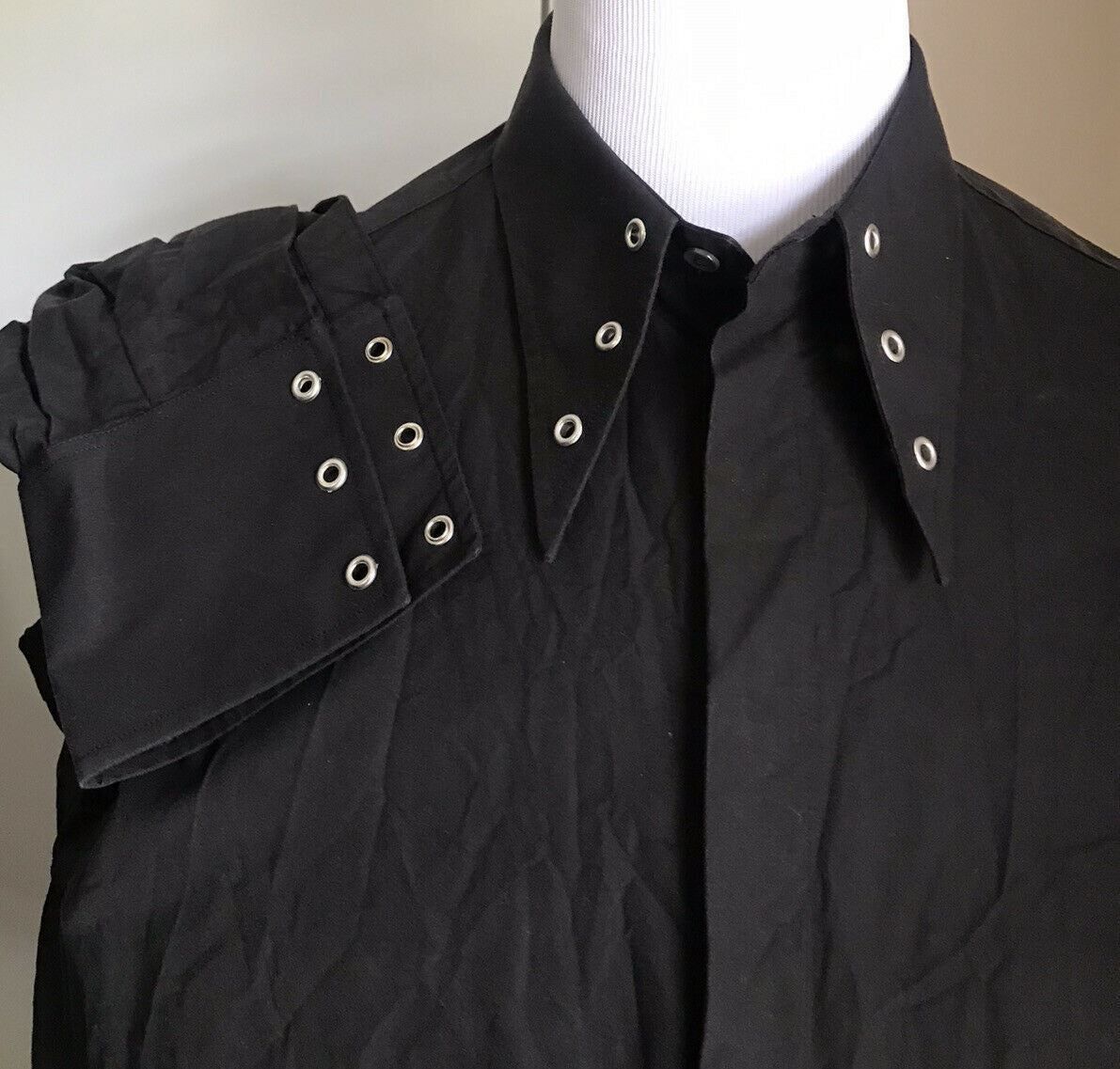 New $980 Gucci Men Heavy Cotton Popeline Rock Shirt Black XXL Italy