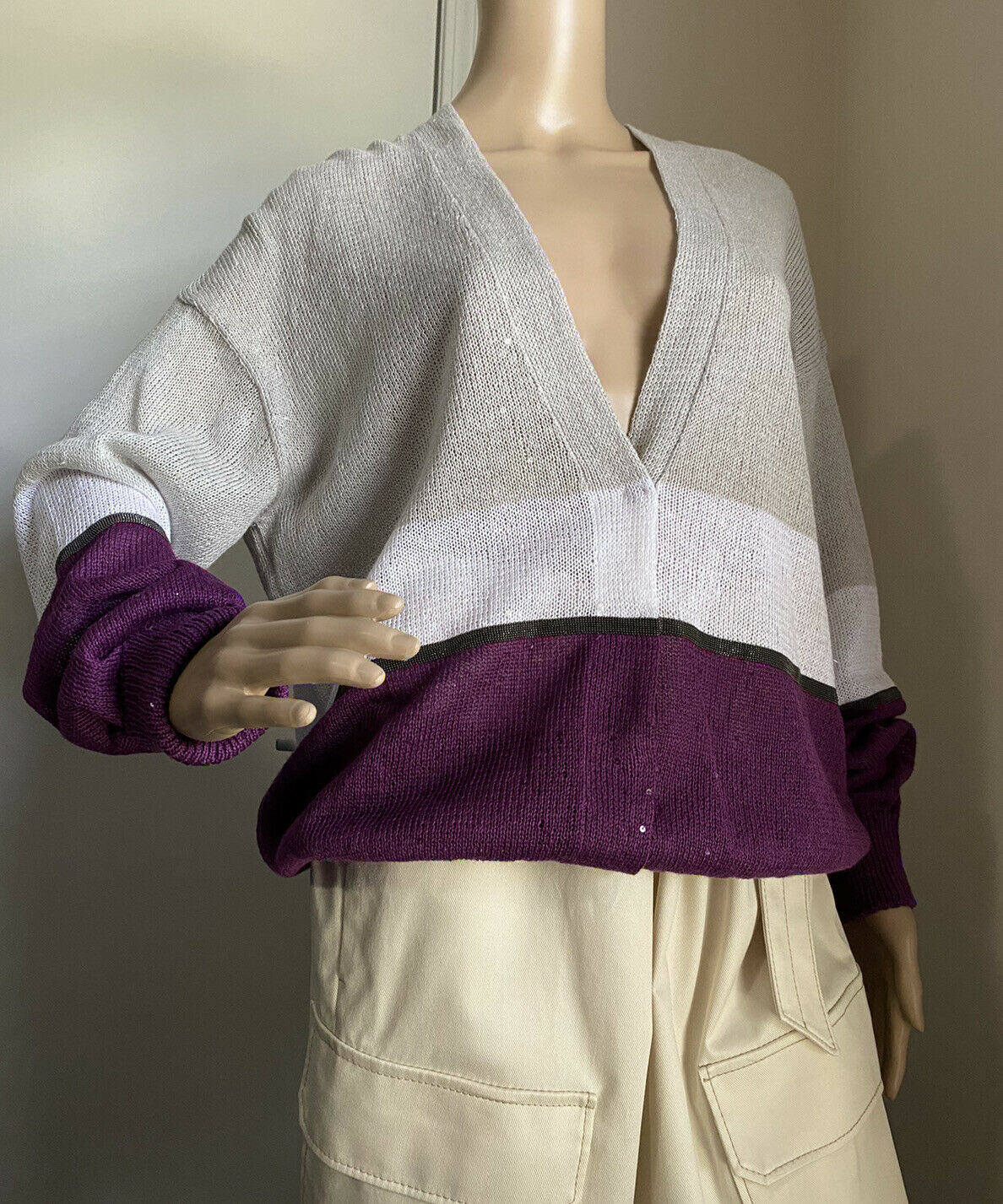 New $2195 Brunello Cucinelli Women Linen/Silk Colorblocked Cardigan Sweater L