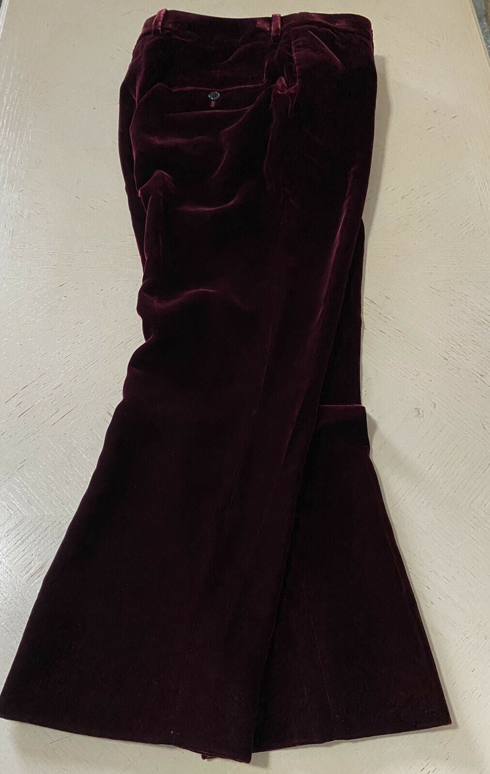 New $1950 Saint Laurent Women Cropped Flare Pants DK Burgundy Size 38 Italy
