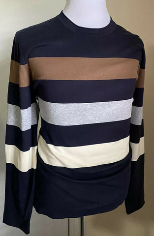 New $995 Brunello Cucinelli Men Crewneck Sweater Blue/Multicolor L US/50 Eu