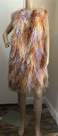 New $13375 Givenchy Ostrich Feather Sleeveless Dress DK Beige 8 US/42 It Italy