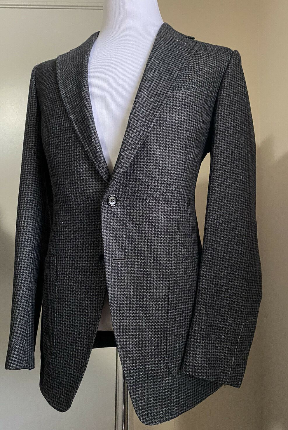 NWT $3950 TOM FORD Mens Sport Coat Jacket Blazer Gray/Black 40R US/50R Eu Italy