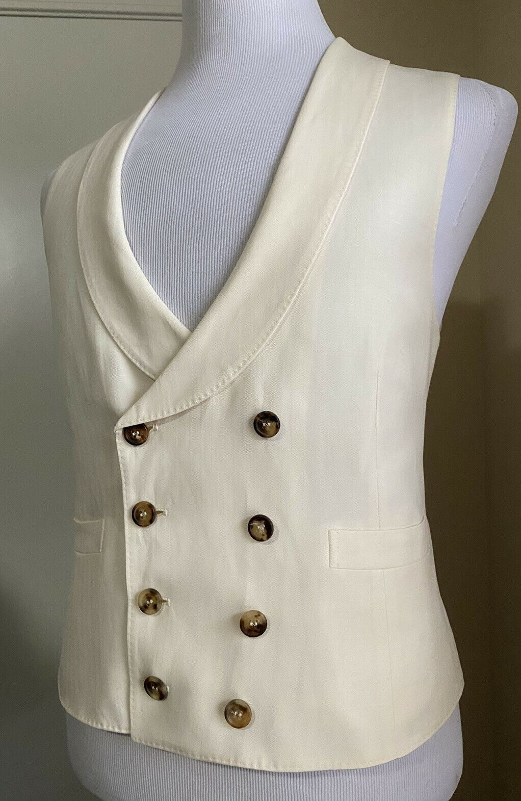 New $1795 Brunello Cucinelli Men Wool/Linen Vest  Gilet White 40 US ( 50 Eu )